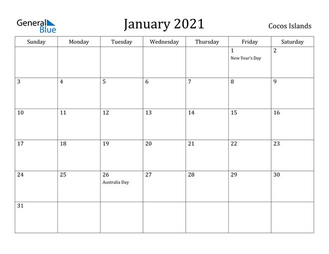 Image of January 2021 Cocos Islands Calendar with Holidays Calendar