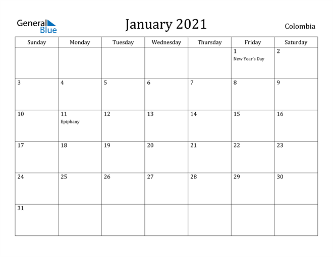 Image of January 2021 Colombia Calendar with Holidays Calendar