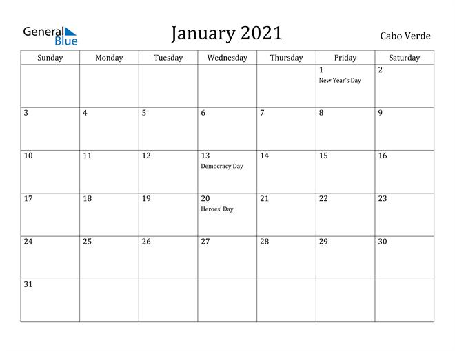 Image of January 2021 Cabo Verde Calendar with Holidays Calendar