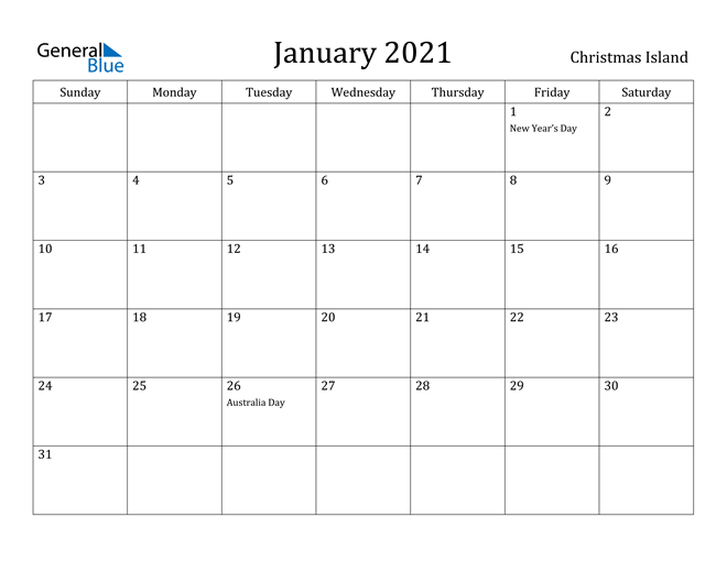 Image of January 2021 Christmas Island Calendar with Holidays Calendar