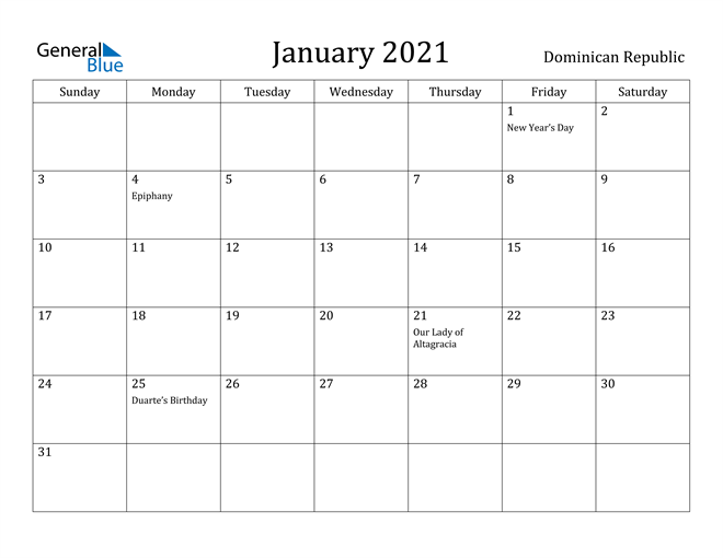 Image of January 2021 Dominican Republic Calendar with Holidays Calendar