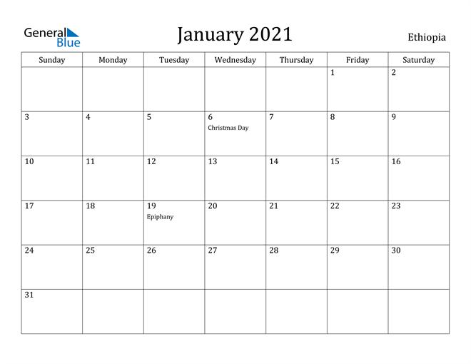 Image of January 2021 Ethiopia Calendar with Holidays Calendar