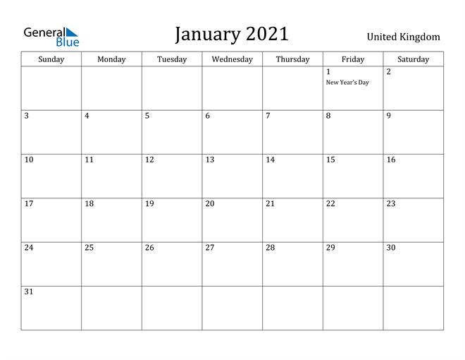Image of January 2021 United Kingdom Calendar with Holidays Calendar