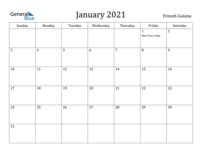 Image of January 2021 French Guiana Calendar with Holidays Calendar