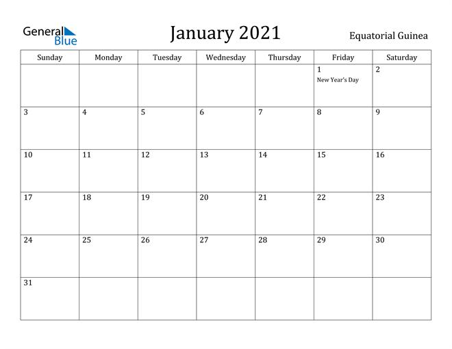 Image of January 2021 Equatorial Guinea Calendar with Holidays Calendar