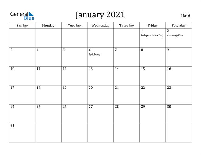 Image of January 2021 Haiti Calendar with Holidays Calendar