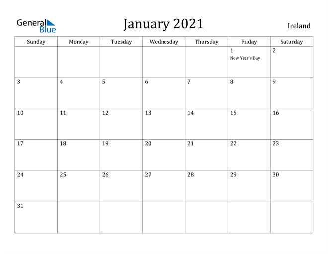 Image of January 2021 Ireland Calendar with Holidays Calendar