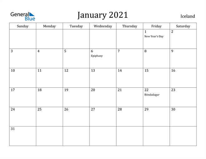 Image of January 2021 Iceland Calendar with Holidays Calendar