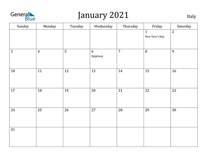 Image of January 2021 Italy Calendar with Holidays Calendar