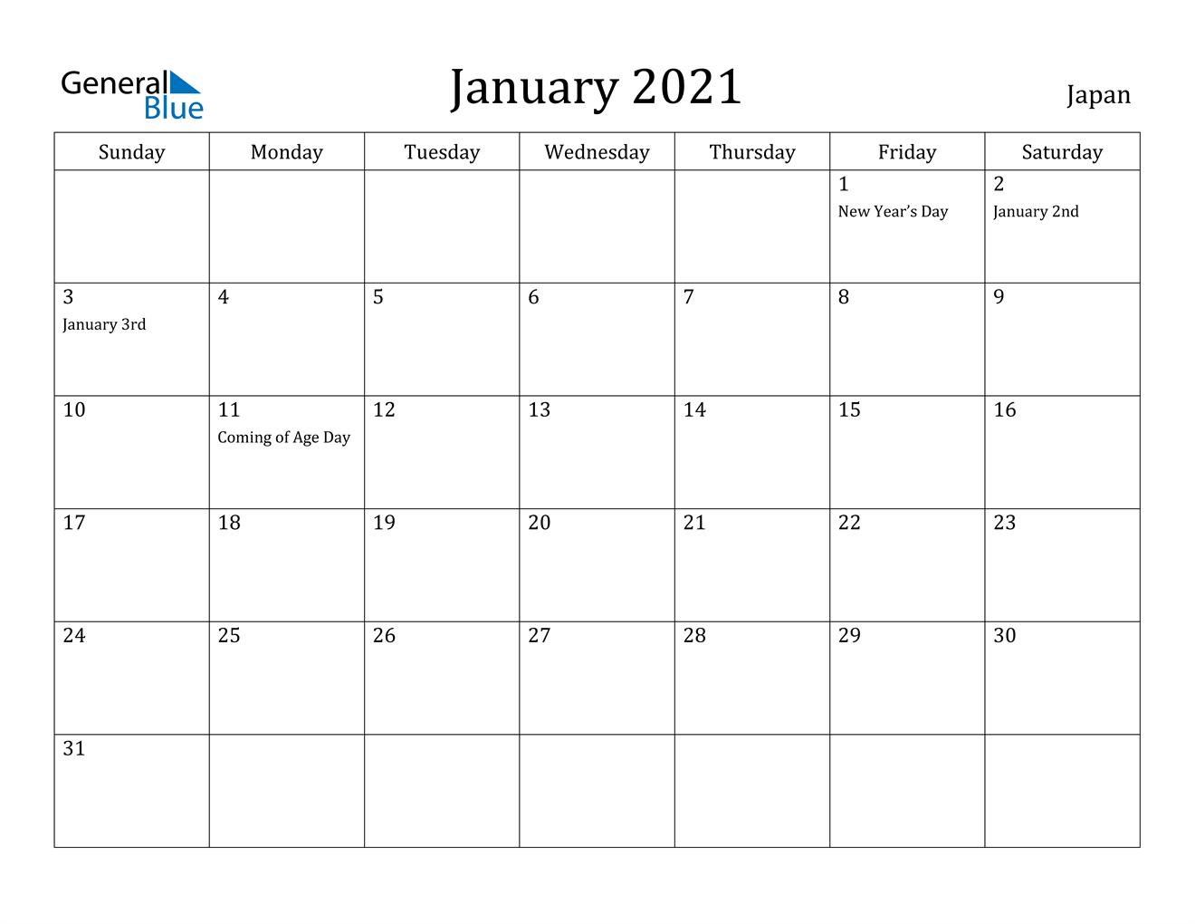 January 2021 Calendar - Japan