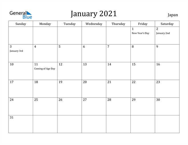 Image of January 2021 Japan Calendar with Holidays Calendar