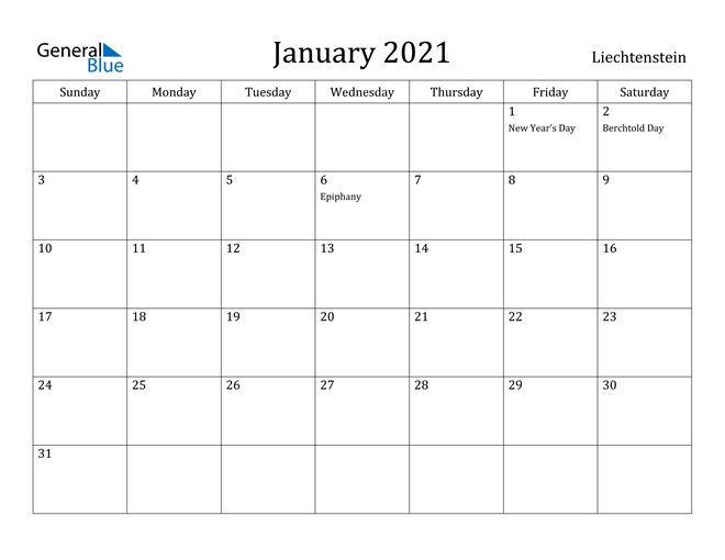 Image of January 2021 Liechtenstein Calendar with Holidays Calendar