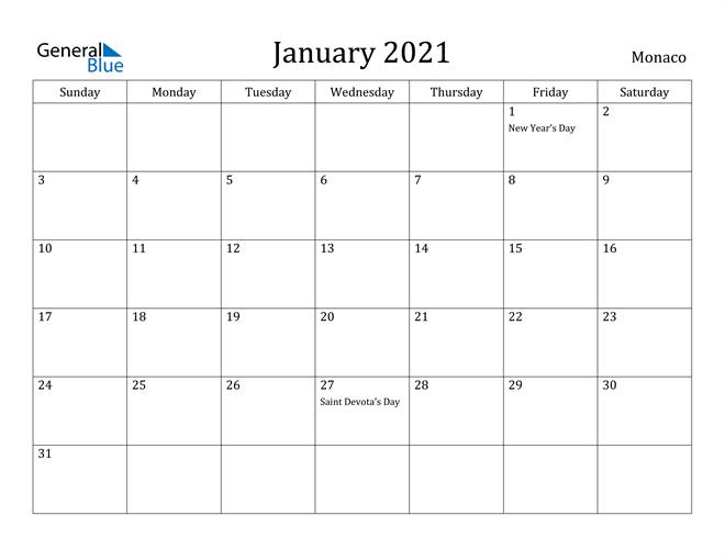 January 2021 Monaco Calendar with Holidays Calendar