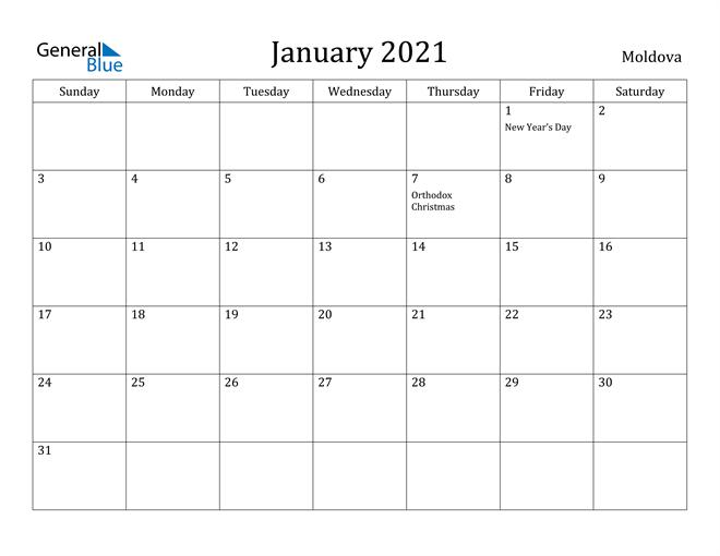 Image of January 2021 Moldova Calendar with Holidays Calendar