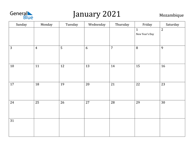Image of January 2021 Mozambique Calendar with Holidays Calendar