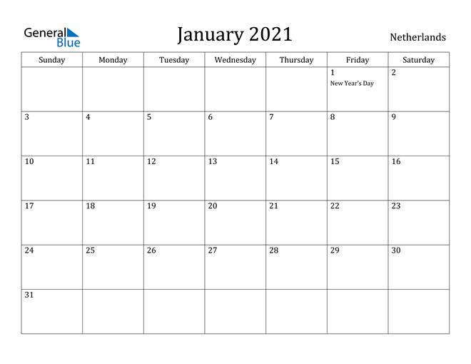 Image of January 2021 Netherlands Calendar with Holidays Calendar