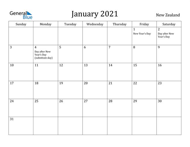 Image of January 2021 New Zealand Calendar with Holidays Calendar