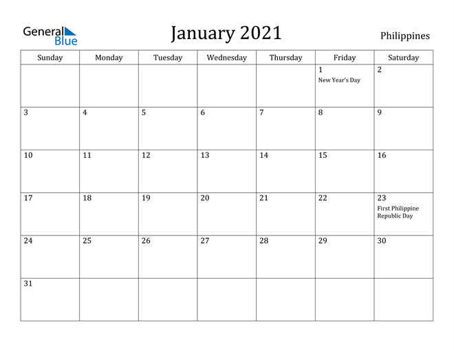 Image of January 2021 Philippines Calendar with Holidays Calendar