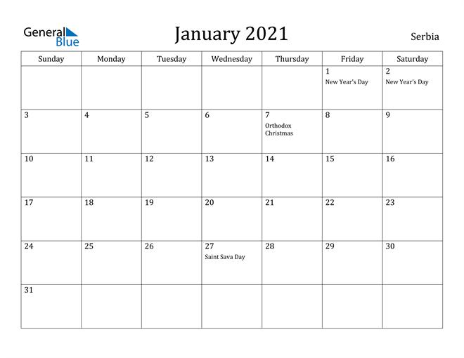 Image of January 2021 Serbia Calendar with Holidays Calendar