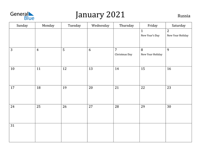 Image of January 2021 Russia Calendar with Holidays Calendar