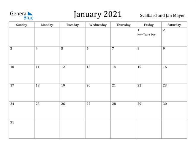 Image of January 2021 Svalbard and Jan Mayen Calendar with Holidays Calendar