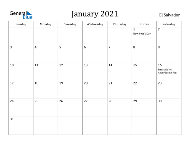 Image of January 2021 El Salvador Calendar with Holidays Calendar