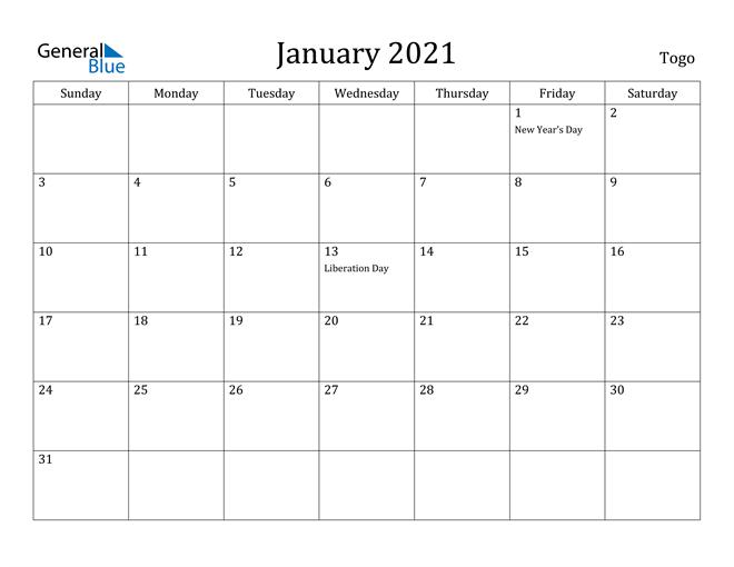 Image of January 2021 Togo Calendar with Holidays Calendar