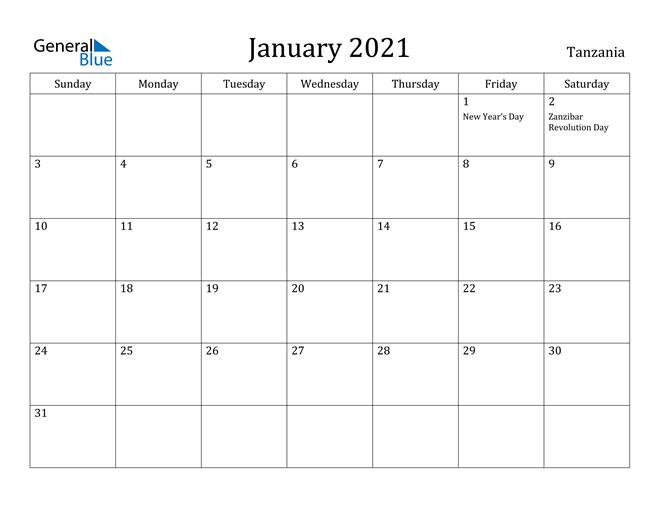 Image of January 2021 Tanzania Calendar with Holidays Calendar