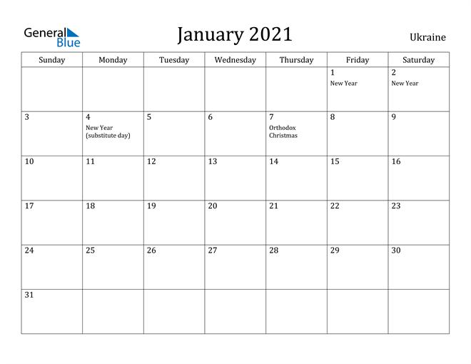 Image of January 2021 Ukraine Calendar with Holidays Calendar