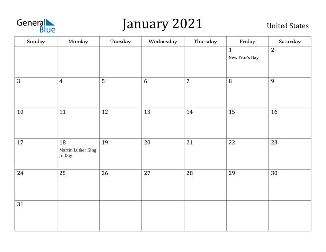 Image of January 2021 United States Calendar with Holidays Calendar