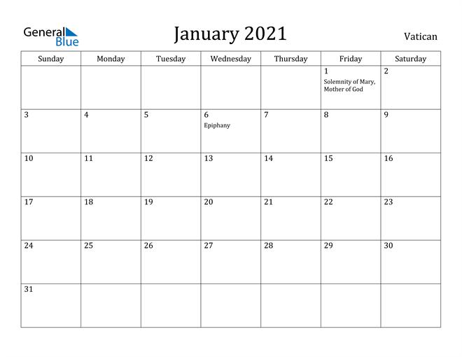 Image of January 2021 Vatican Calendar with Holidays Calendar