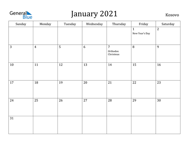 Image of January 2021 Kosovo Calendar with Holidays Calendar
