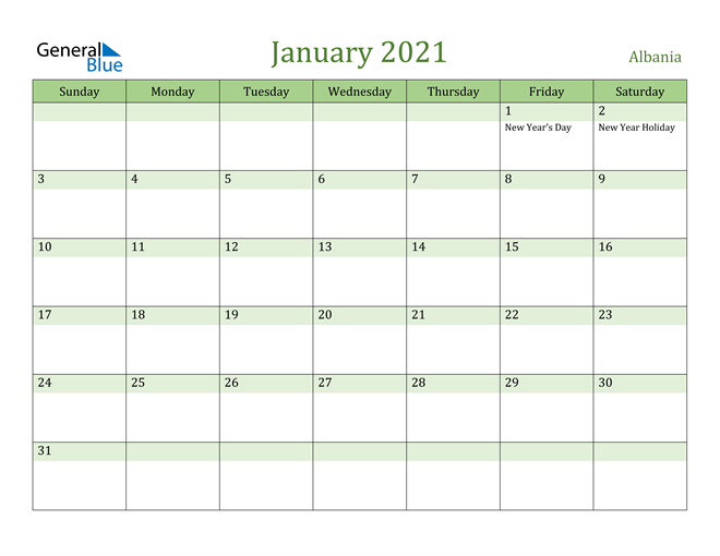 Image of January 2021 Cool and Relaxing Green Calendar Calendar