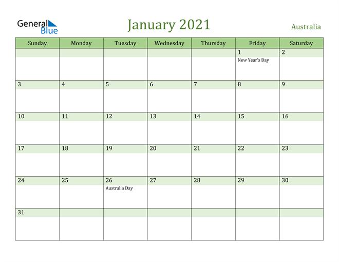 January 2021 Calendar with Australia Holidays