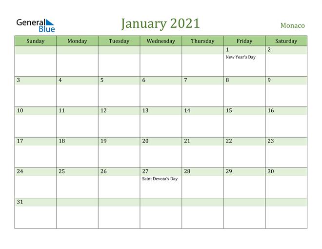 January 2021 Cool and Relaxing Green Calendar Calendar
