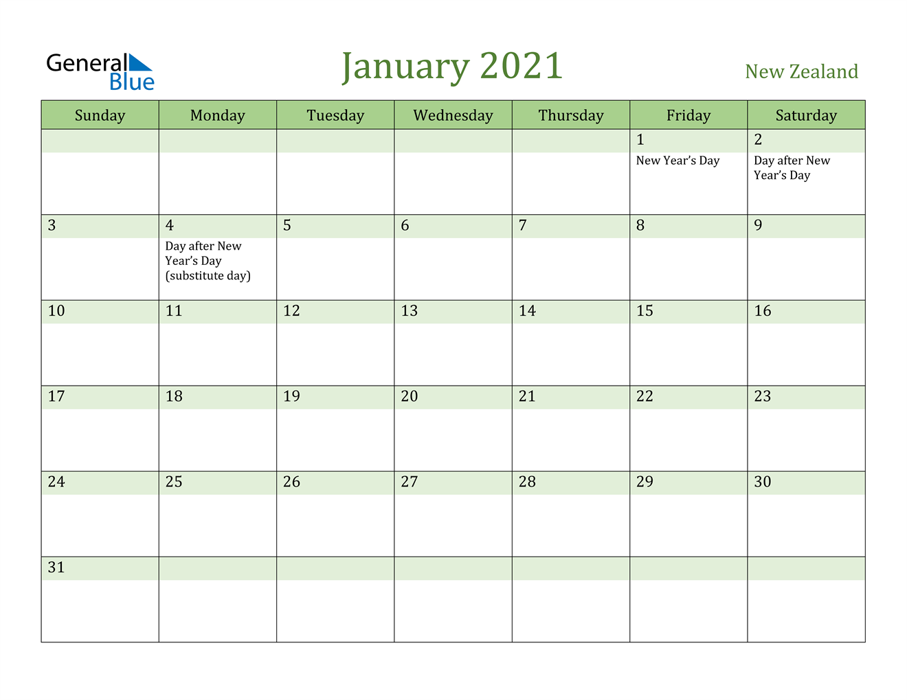 January 2021 Calendar - New Zealand