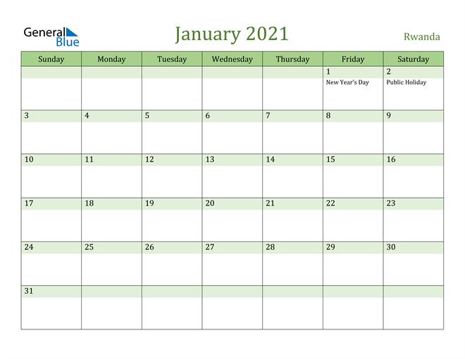 January 2021 Calendar with Rwanda Holidays