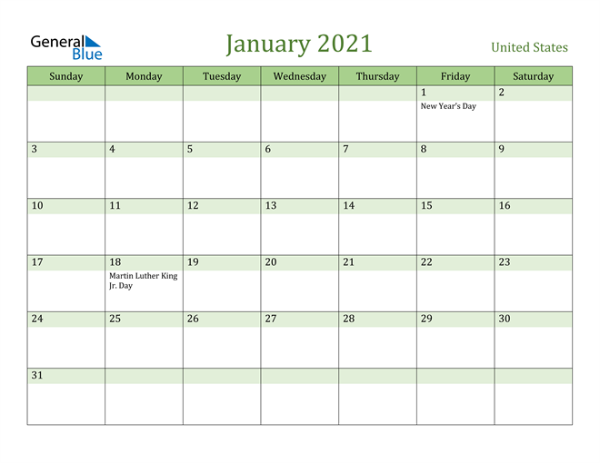 January 2021 Calendar with United States Holidays