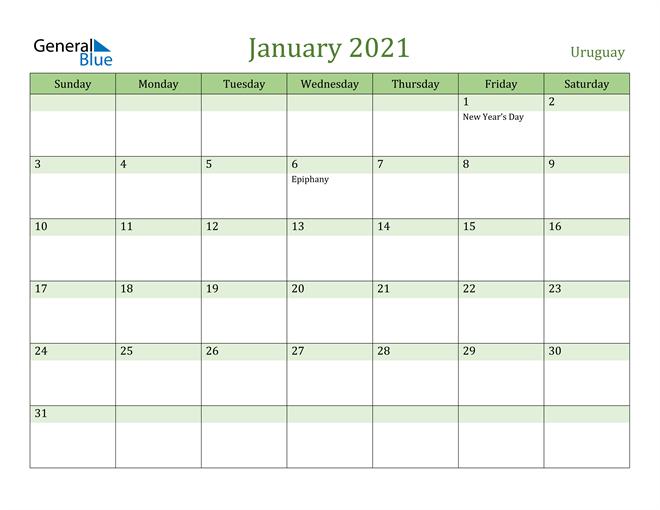 Image of January 2021 Cool and Relaxing Green Calendar Calendar