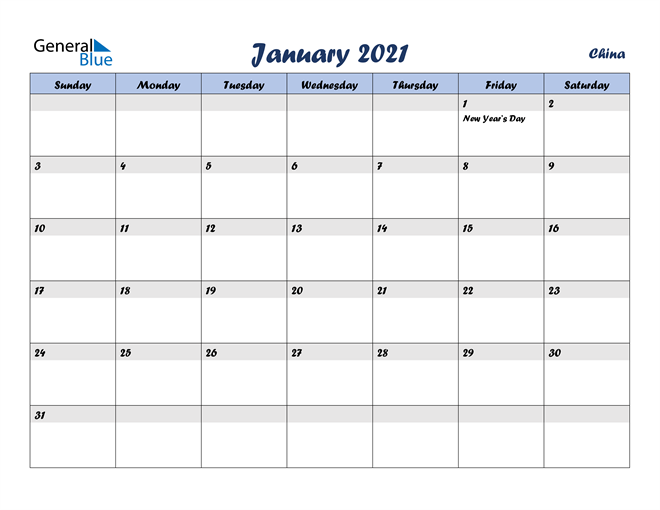 Image of January 2021 Italicized and Cool Blue, A Fun Calendar in PDF, Word and Excel Calendar