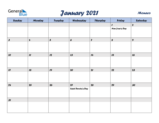 January 2021 Italicized and Cool Blue, A Fun Calendar in PDF, Word and Excel Calendar