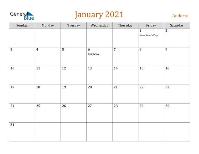 Image of January 2021 Contemporary Orange PDF, Word and Excel Calendar Calendar