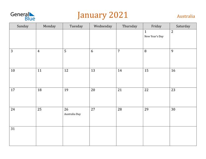 January 2021 Holiday Calendar