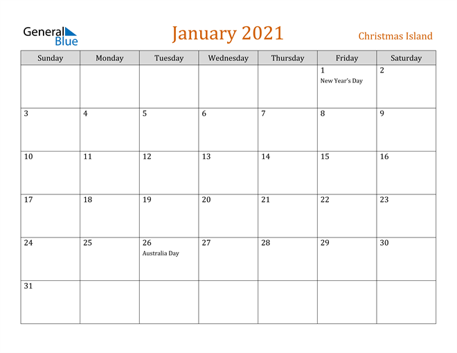 Image of January 2021 Contemporary Orange PDF, Word and Excel Calendar Calendar