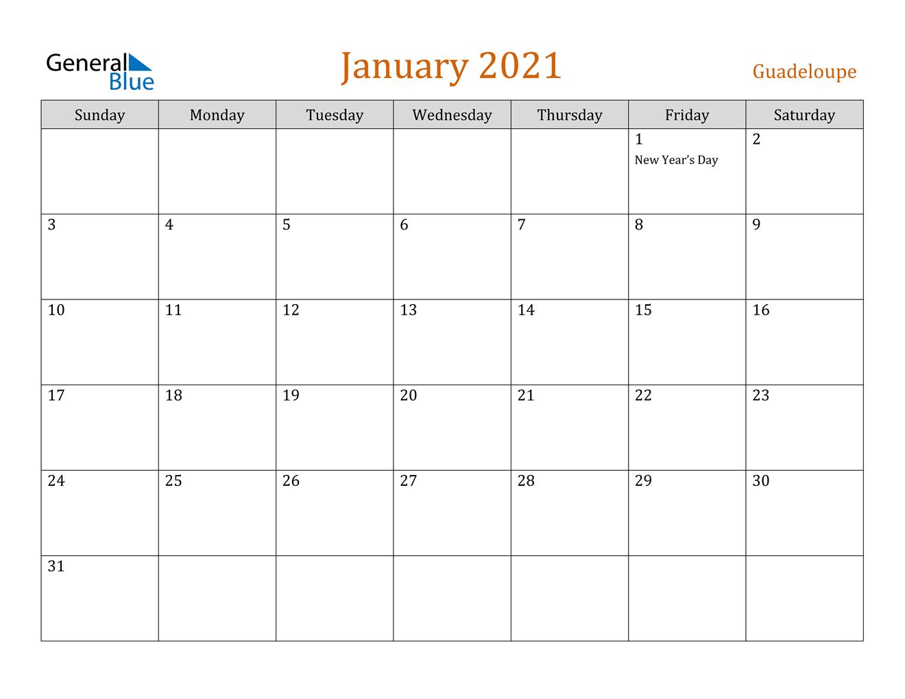 January 2021 Calendar - Guadeloupe