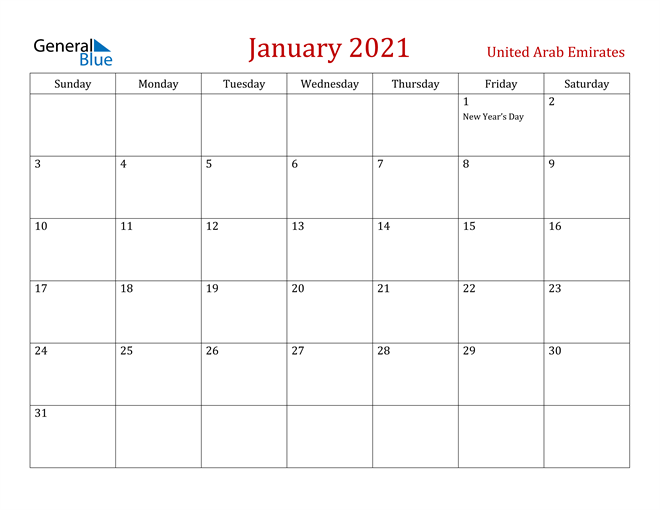 Image of January 2021 Dark and Red Professional Office Calendar Calendar