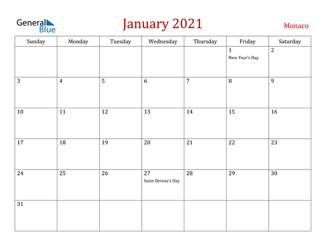 January 2021 Dark and Red Professional Office Calendar Calendar
