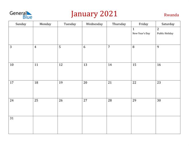 Rwanda January 2021 Calendar