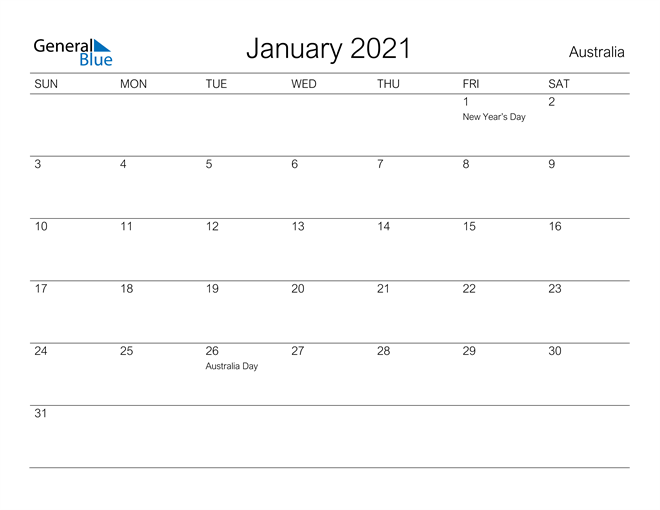 Printable January 2021 Calendar for Australia
