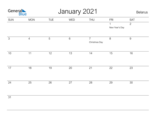 Image of January 2021 A Streamlined Design, The Perfect Printable Calendar. Calendar